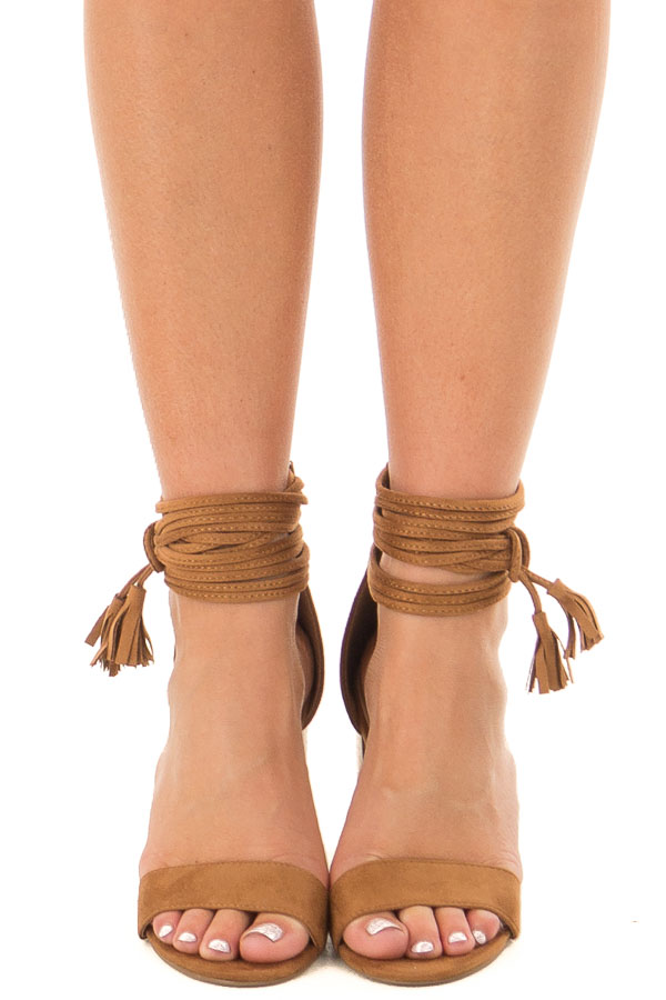72819cb12 Tan High Heeled Sandal with Strappy Ankle Details - Lime Lush Boutique