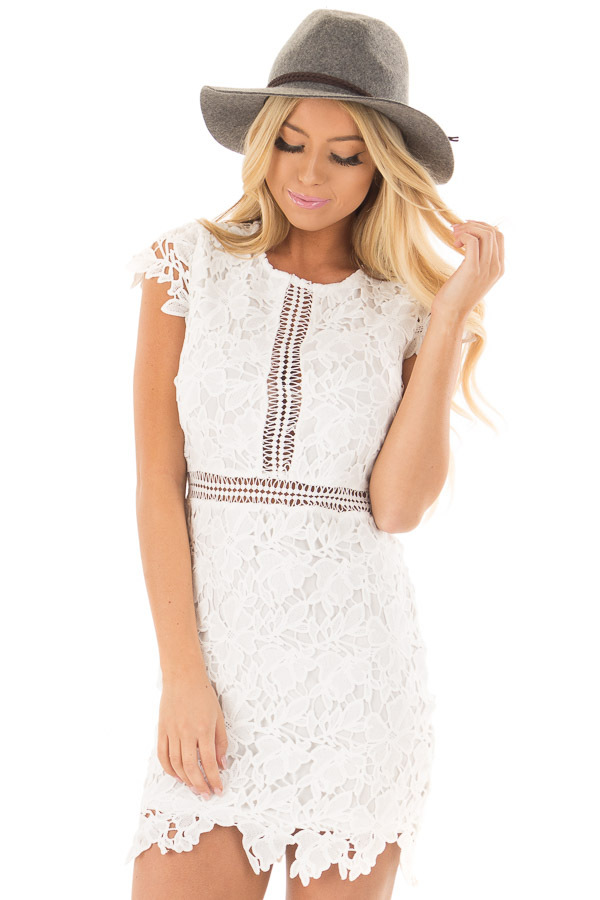 White Lace Dress With Sheer Crochet Details Lime Lush Boutique