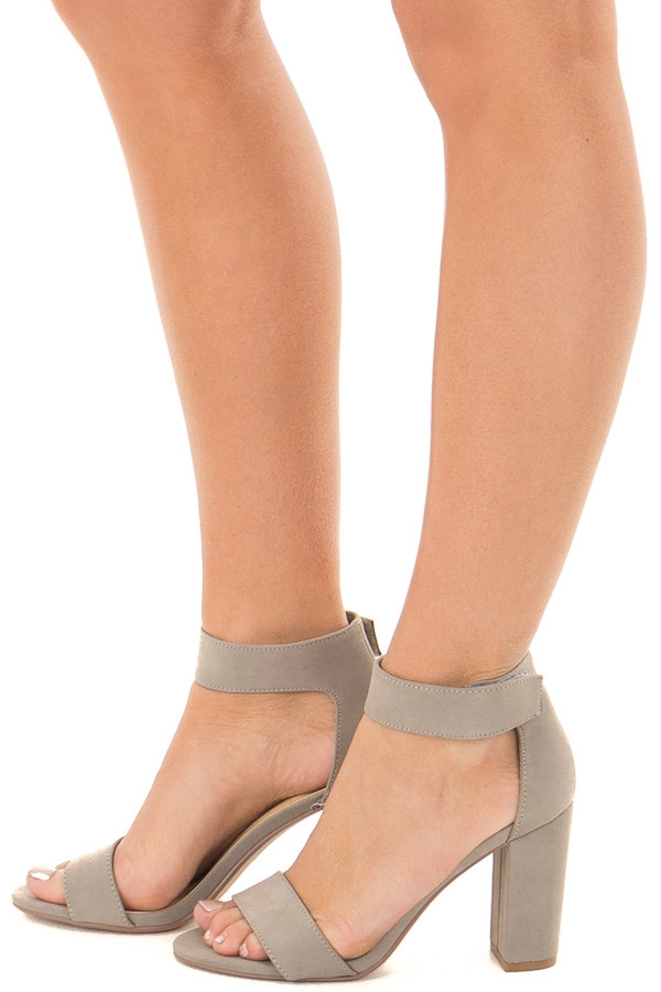 ce193a09057 Light Grey Faux Suede Open Toe High Heels - Lime Lush Boutique