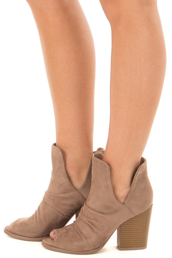 Dark Beige Slouchy Peep Toe Bootie - Lime Lush Boutique f8f7e8a70