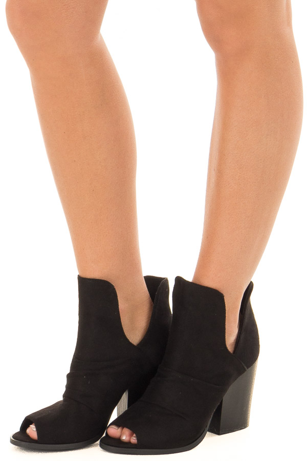 Black Slouchy Peep Toe Bootie front side view