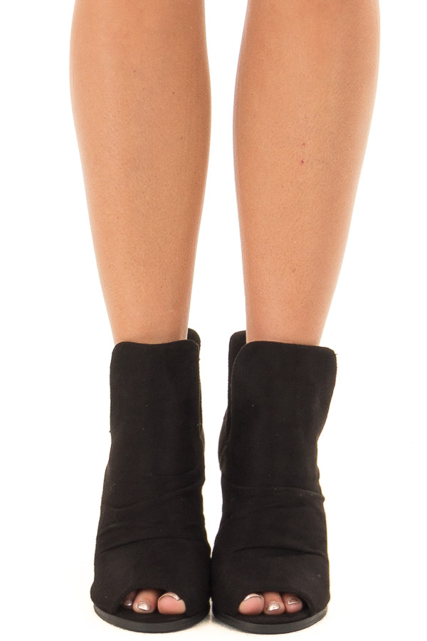 Black Slouchy Peep Toe Bootie front view