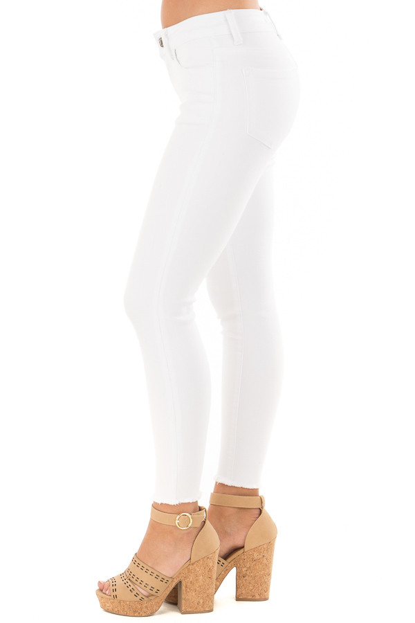 White Skinny Jeans with Frayed Edge Detail side view