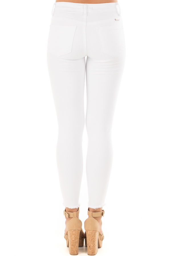 White Skinny Jeans with Frayed Edge Detail back view
