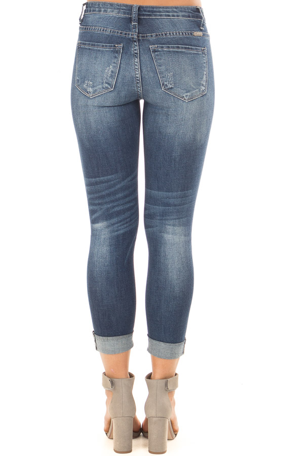 Dark Wash Distressed Cropped Denim Jeans back view
