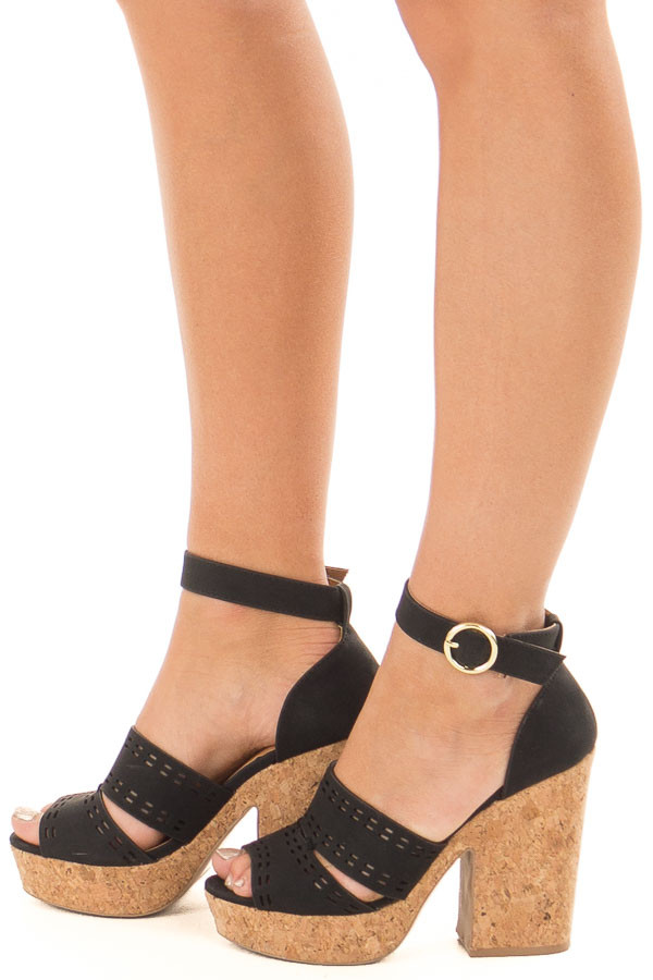 a21b740a908 Black and Cork Open Toe High Heels with Ankle Strap - Lime Lush Boutique