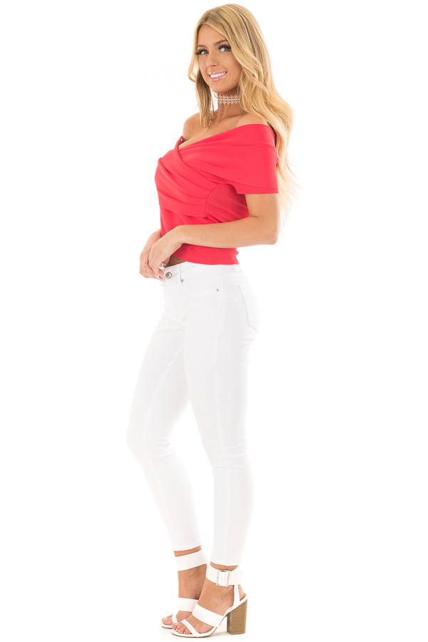 Lipstick Red Wrap Style Off the Shoulder Crop Top side full body