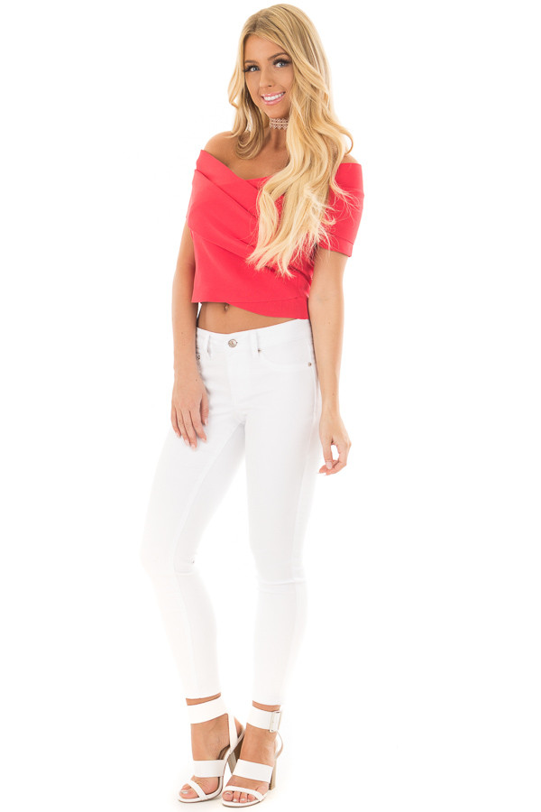 Lipstick Red Wrap Style Off the Shoulder Crop Top front full body