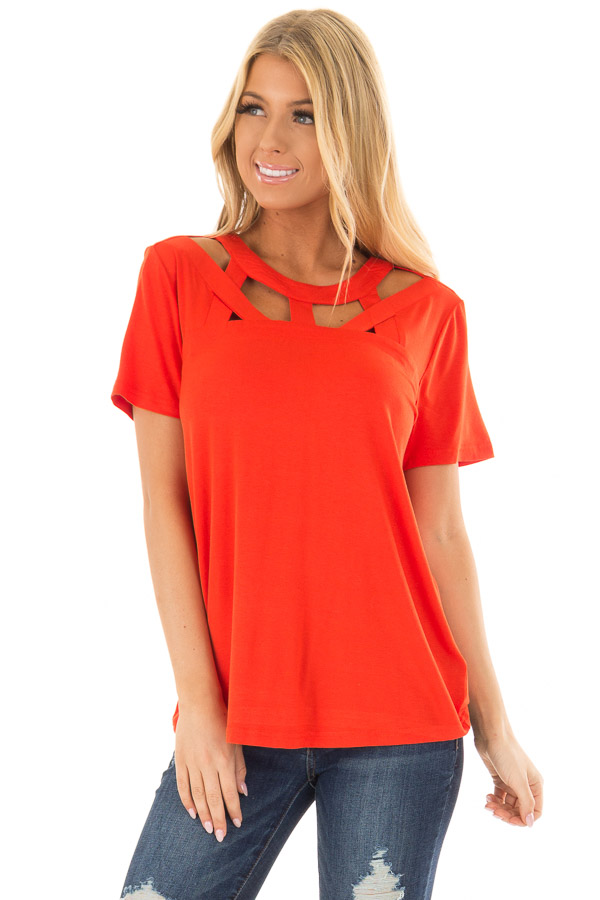 9f8c7f8c420 Tomato Red Tee Shirt with Strappy Cut Out Neckline - Lime Lush Boutique