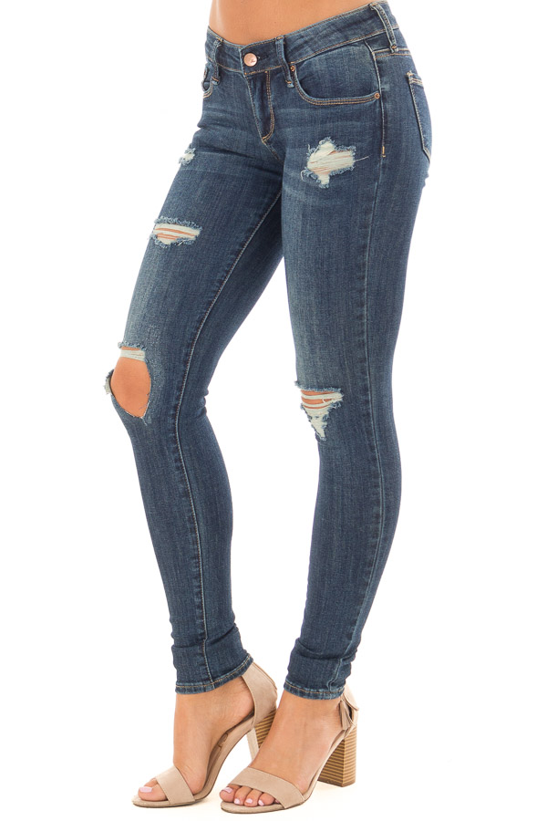 Dark Wash Distressed Cropped Skinny Jeans front side view