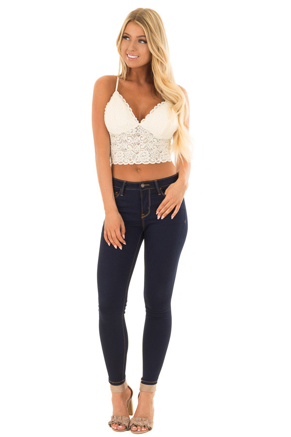 Ivory Floral Lace Thick Band Bralette front full body
