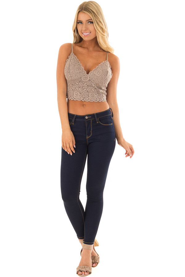 Cocoa Floral Lace Thick Band Bralette front full body