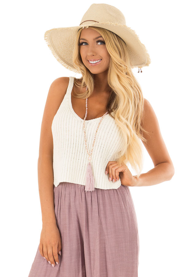 201b6db52ee54 Ivory Thick Knit V Neck Cropped Tank Top - Lime Lush Boutique