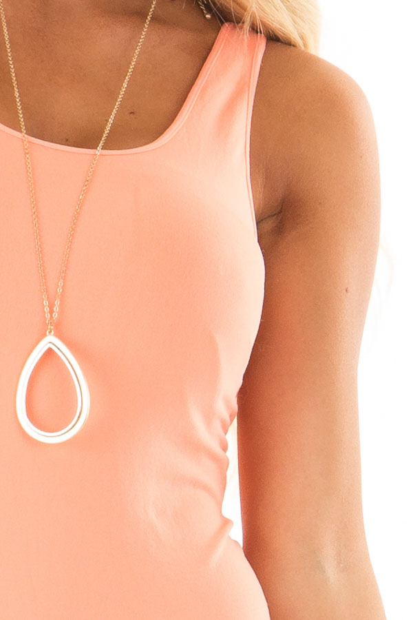 Bright Coral Seamless Long Tank Top detail