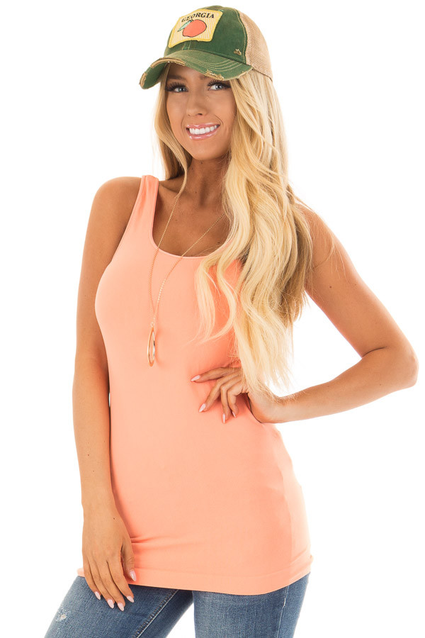 Bright Coral Seamless Long Tank Top front close up