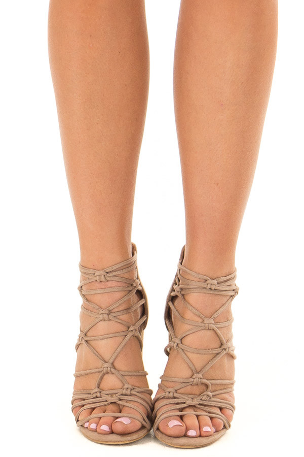 b9b5d4e3070 Taupe Faux Suede Strappy High Heels with Knot Details - Lime Lush ...