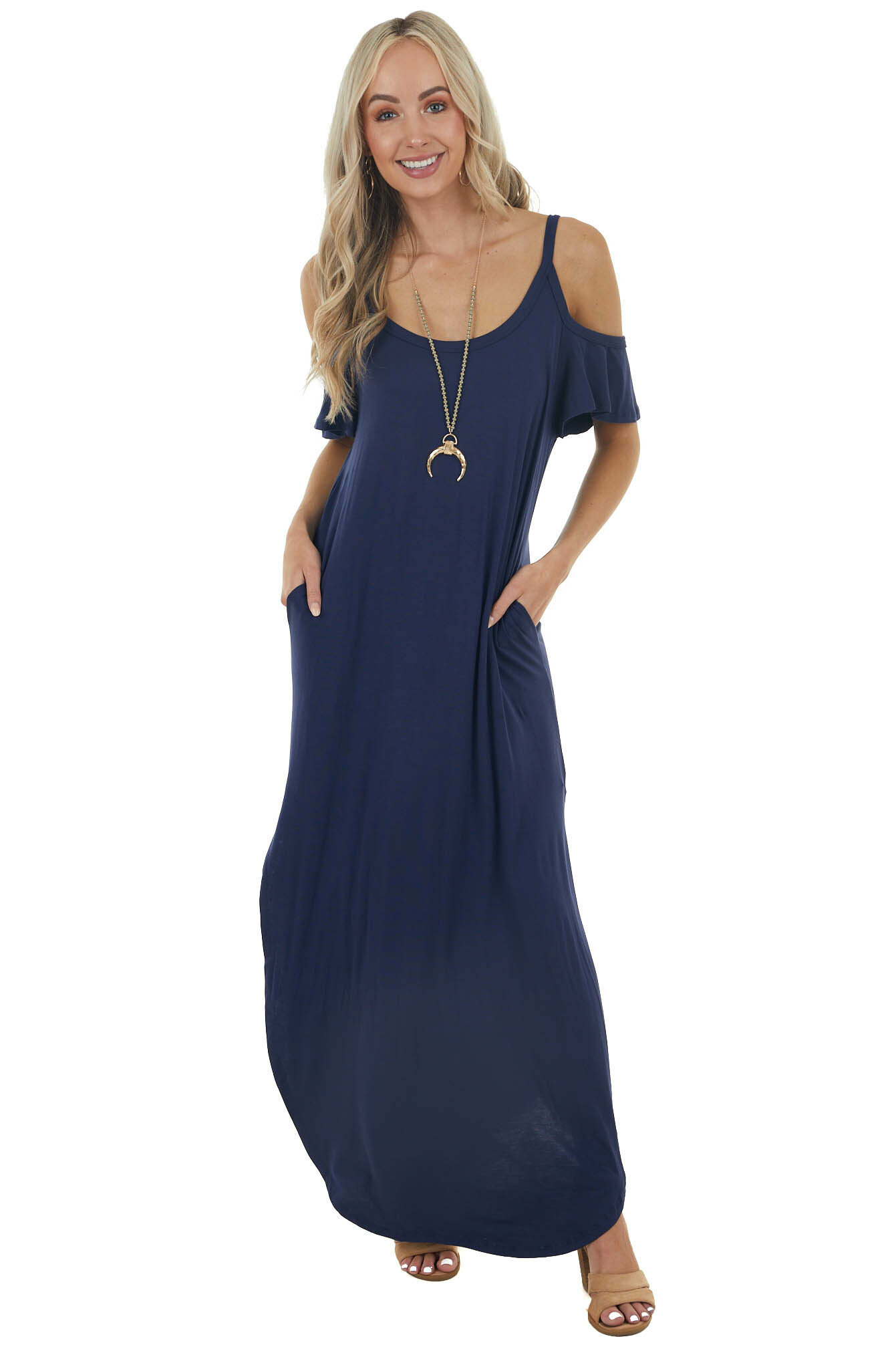 Navy Cold Shoulder Maxi Dress with Side Pockets