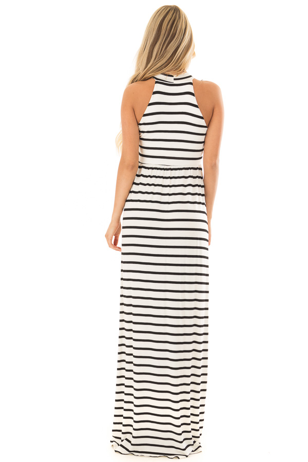 ec1abf9cf38 ... Ivory and Black Striped Maxi Dress with Jewel Neck back full body ...