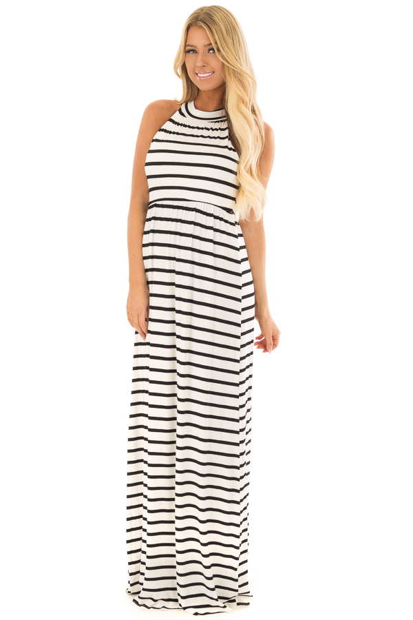 da74ad49617 Ivory and Black Striped Maxi Dress with Jewel Neck - Lime Lush Boutique