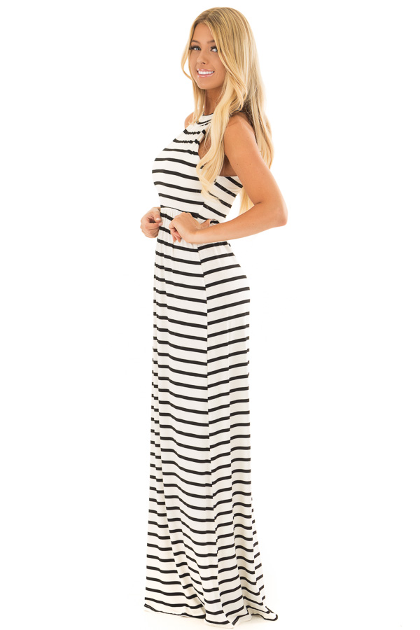 5c98f51b2a3 ... Ivory and Black Striped Maxi Dress with Jewel Neck side full body ...