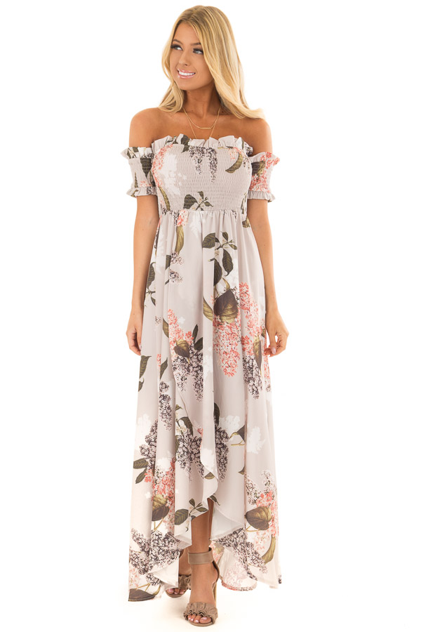 6fce197b43 Beige Floral Off Shoulder Maxi Dress with Layered Front - Lime Lush ...