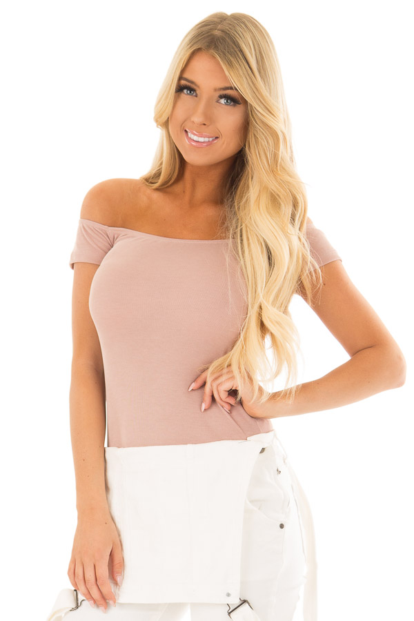 Dusty Rose Off the Shoulder Ribbed Top front close up