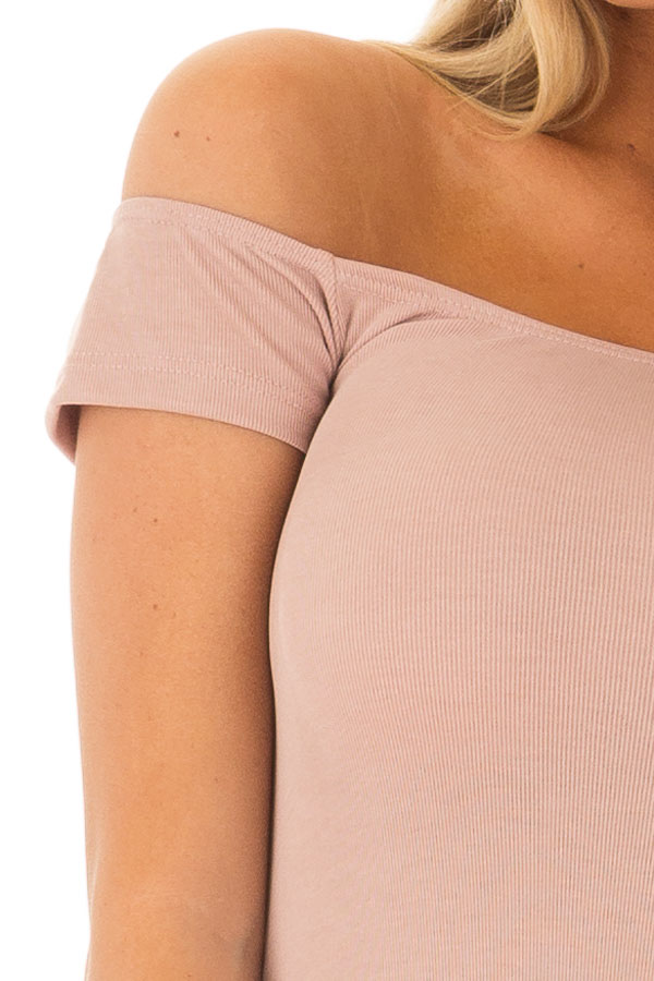 Dusty Rose Off the Shoulder Ribbed Top detail