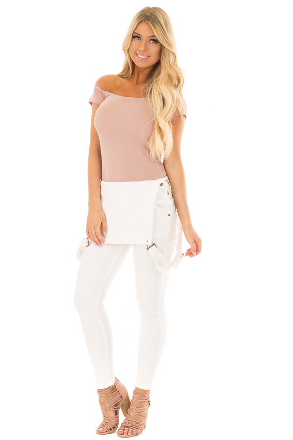 Dusty Rose Off the Shoulder Ribbed Top front full body