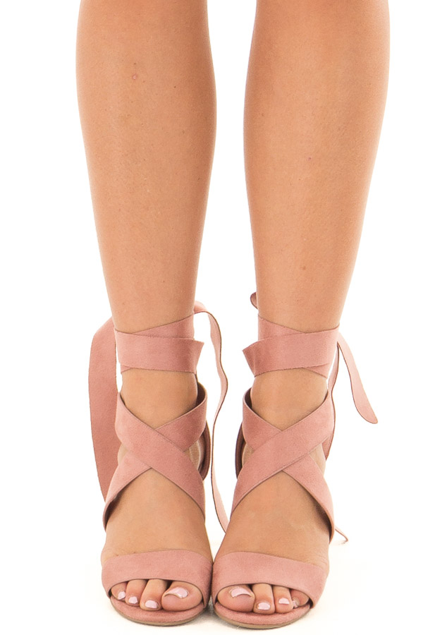 Mauve Ankle Lace Up Strap Open Toe Heel front view