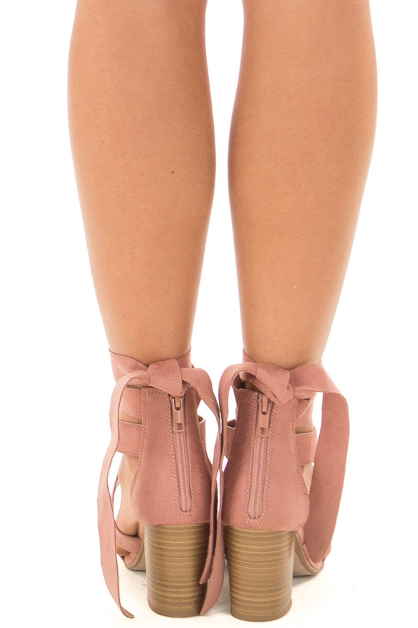 Mauve Ankle Lace Up Strap Open Toe Heel back view