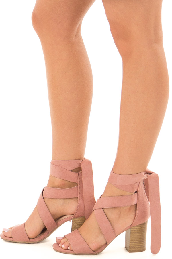Mauve Ankle Lace Up Strap Open Toe Heel side view