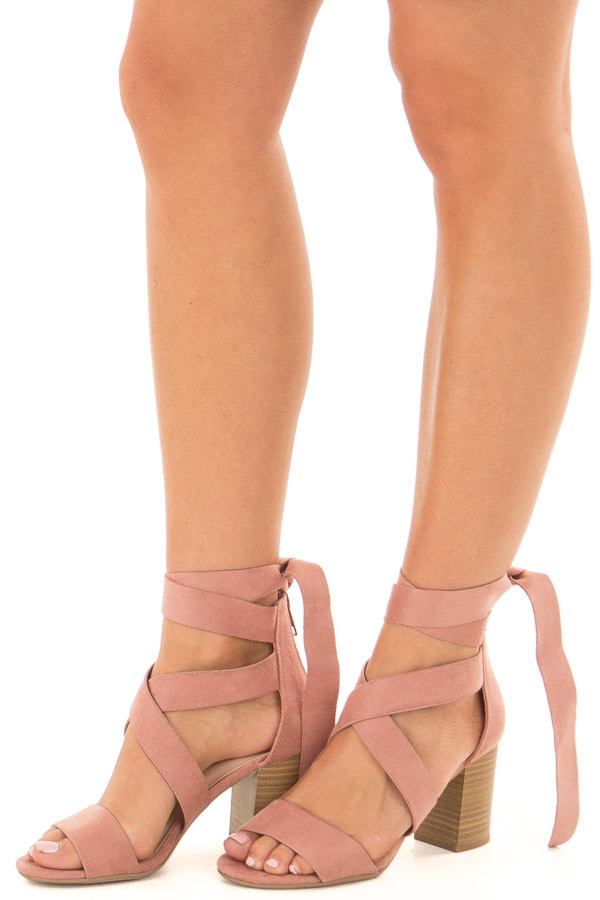 Mauve Ankle Lace Up Strap Open Toe Heel front side view