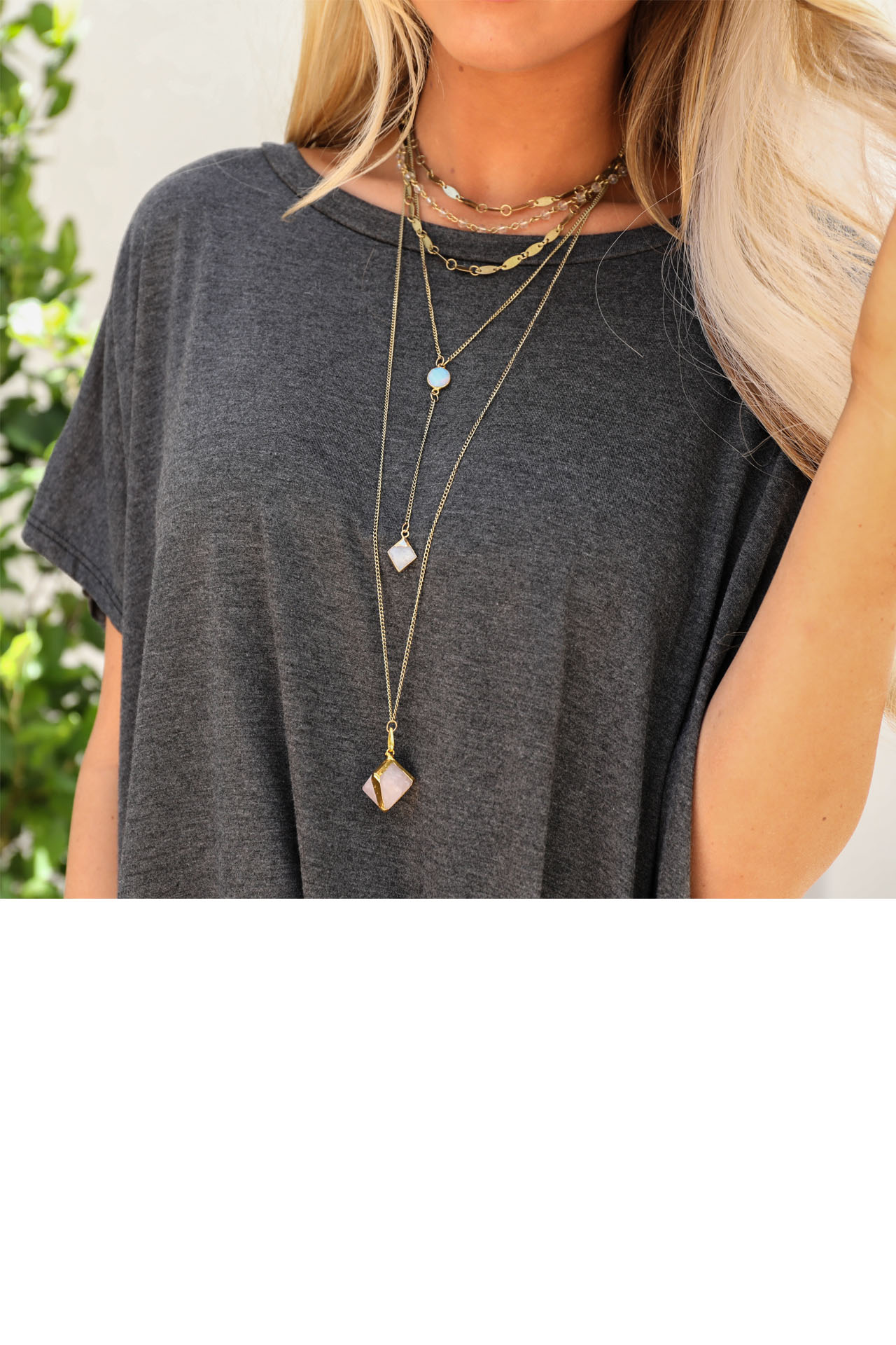 Antique Gold Layered Stone Necklace