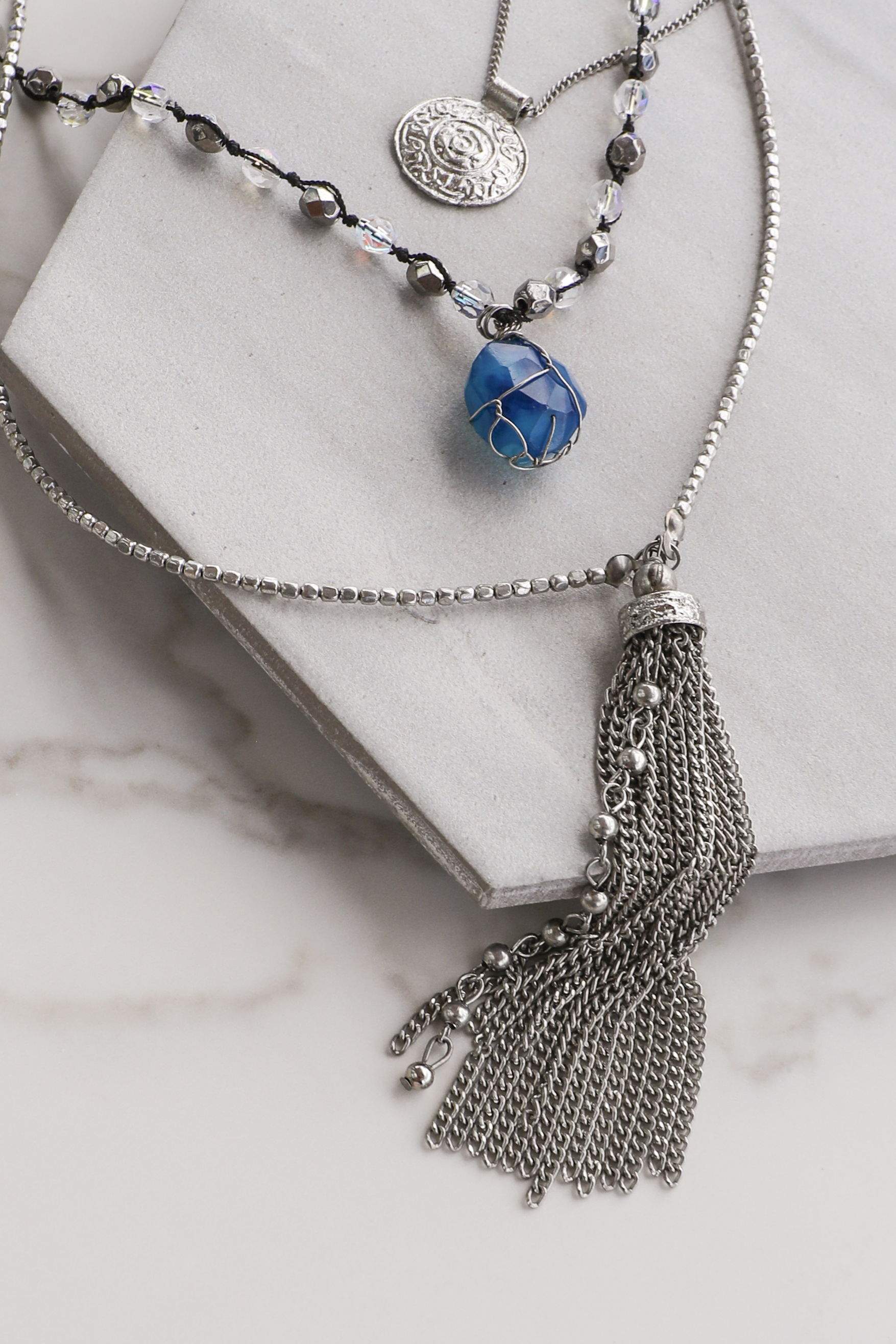 Antique Silver Necklace with Stone and Tassel Pendants