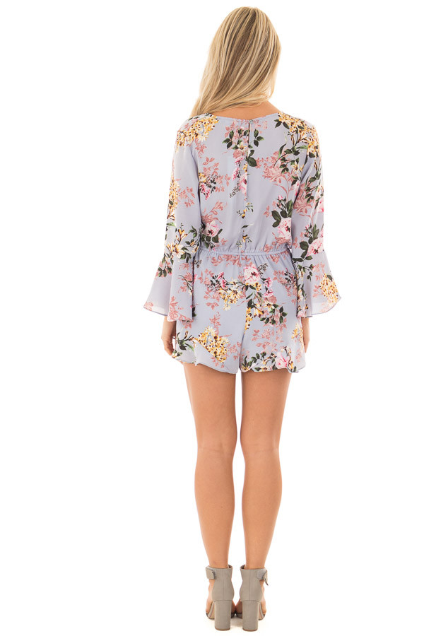 f597bd8f482 ... Misty Blue Floral Print Bell Sleeve Romper with Side Tie back full body  ...