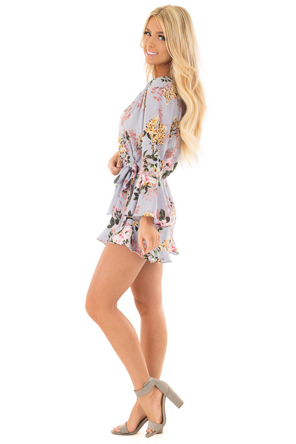 0caae2d23d0 ... Misty Blue Floral Print Bell Sleeve Romper with Side Tie side full body  ...