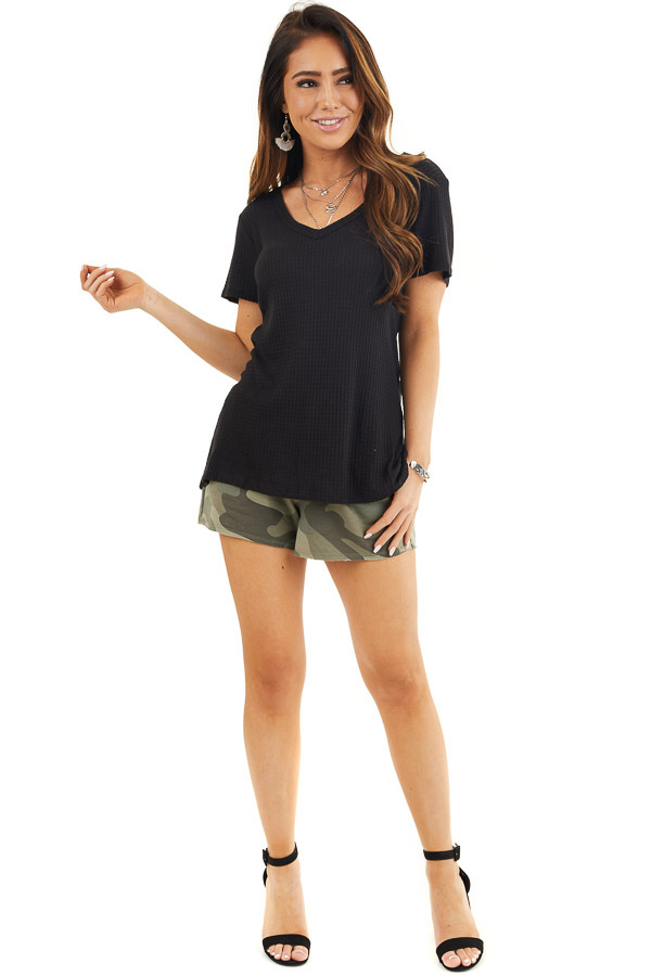 Black Waffle Knit V Neck Top with Side Slits front full body