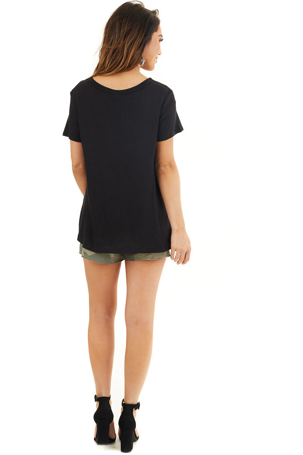 Black Waffle Knit V Neck Top with Side Slits back full body