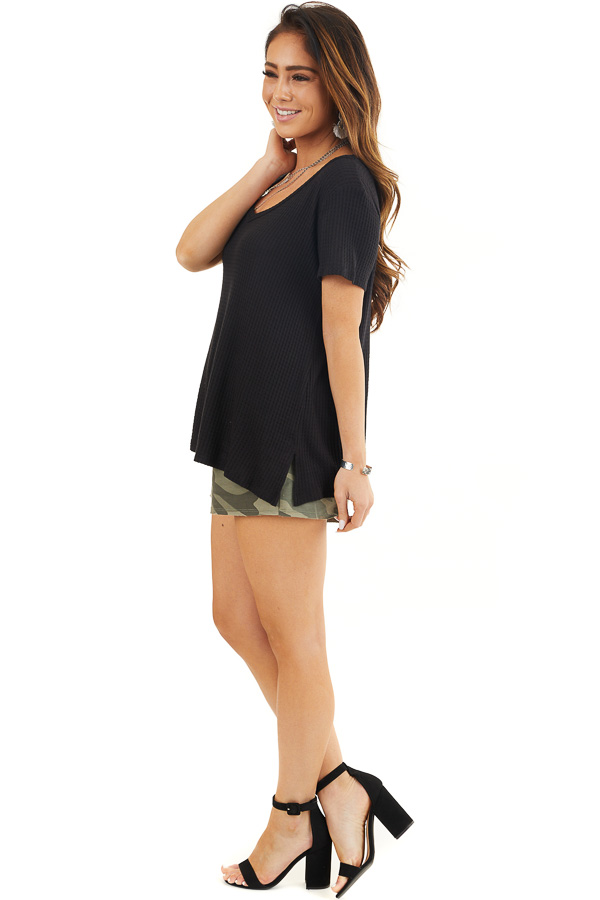 Black Waffle Knit V Neck Top with Side Slits side full body
