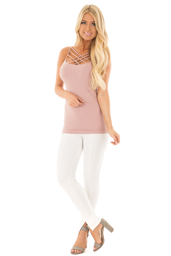 Dusty Rose Criss Cross Strappy Camisole front full body