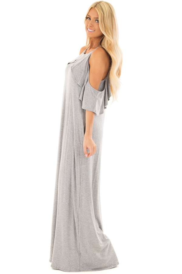 Heather Grey Cold Shoulder and Ruffle Detail Maxi Dress side full body