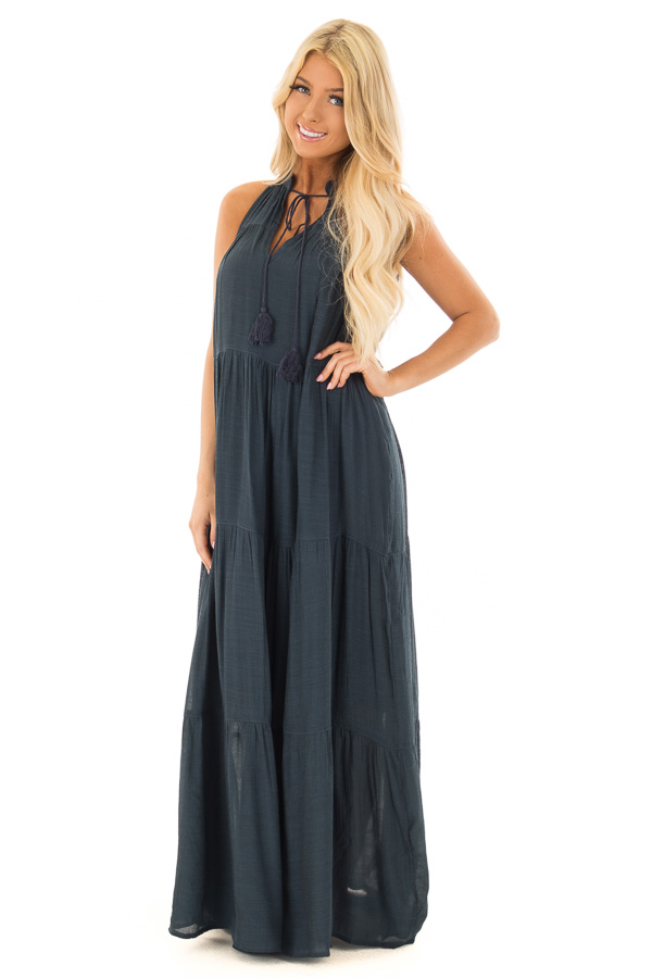 c2edf7dd80d Midnight Navy Tiered Maxi Dress with V Neck and Tie Detail front full body