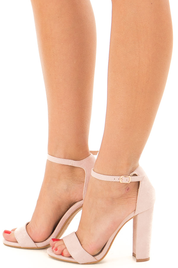 Mauve Faux Suede Sandal High Heel with Thin Ankle Strap side view