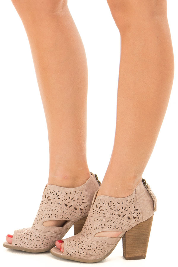 899ca196a Washed Dark Cream Peep Toe Booties with Cut Out Details - Lime Lush ...