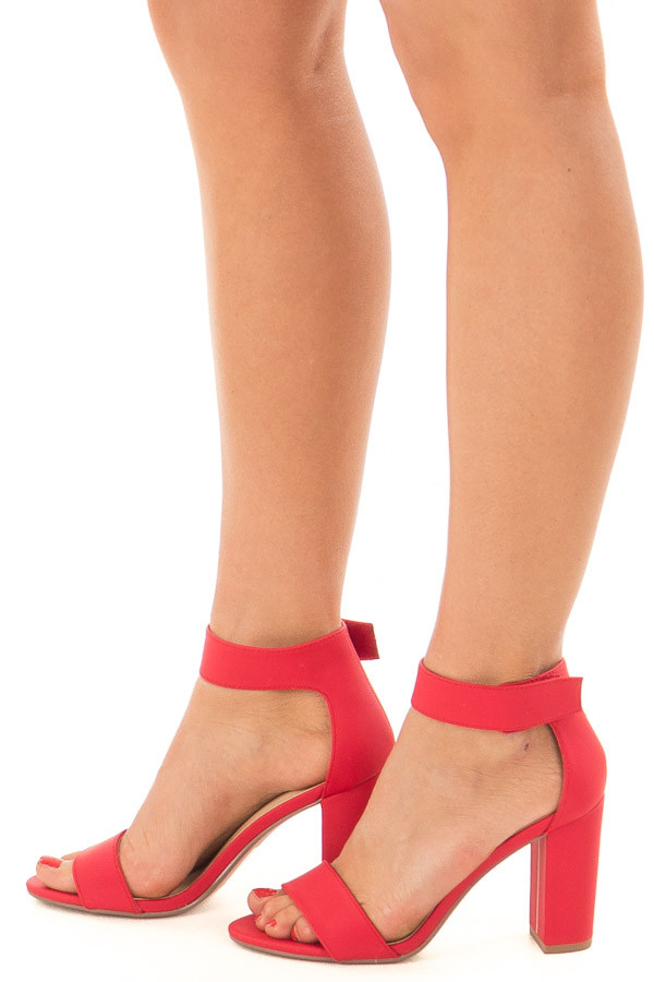 Cherry Red Open Toe High Heels side