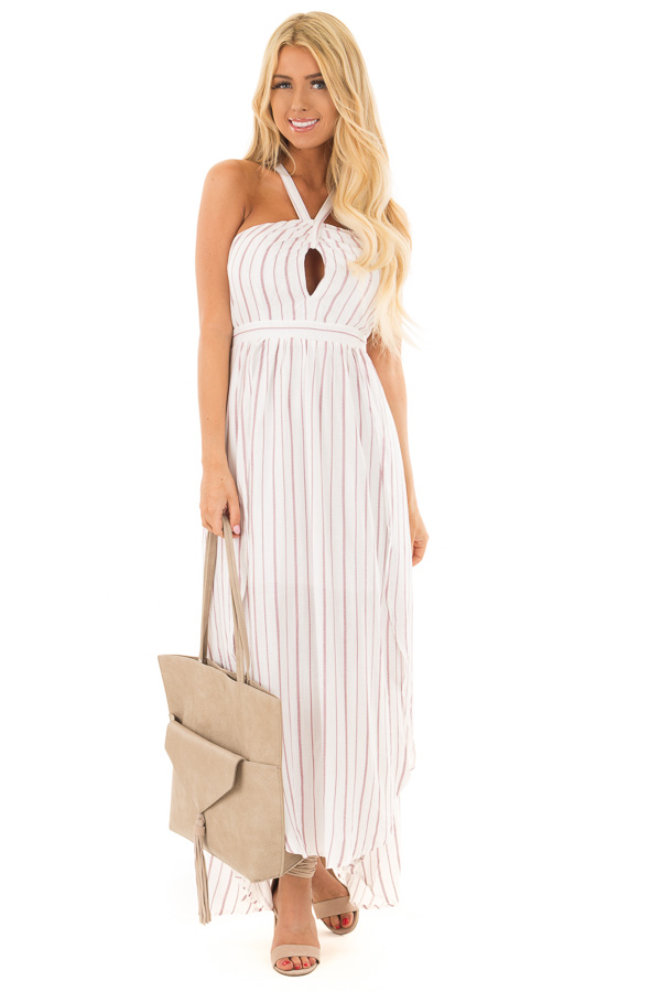 5383d47bf87 Burgundy and Off White Striped Woven Maxi Dress - Lime Lush Boutique