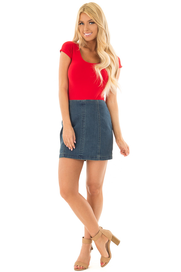 Cherry Red Cap Sleeve Stretchy Scoop Neck Tee front full body