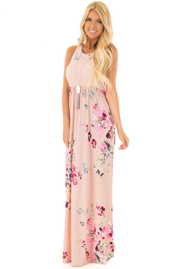 4189f972b4c Blush Floral Racerback Slinky Maxi Dress with Side Pockets front full body