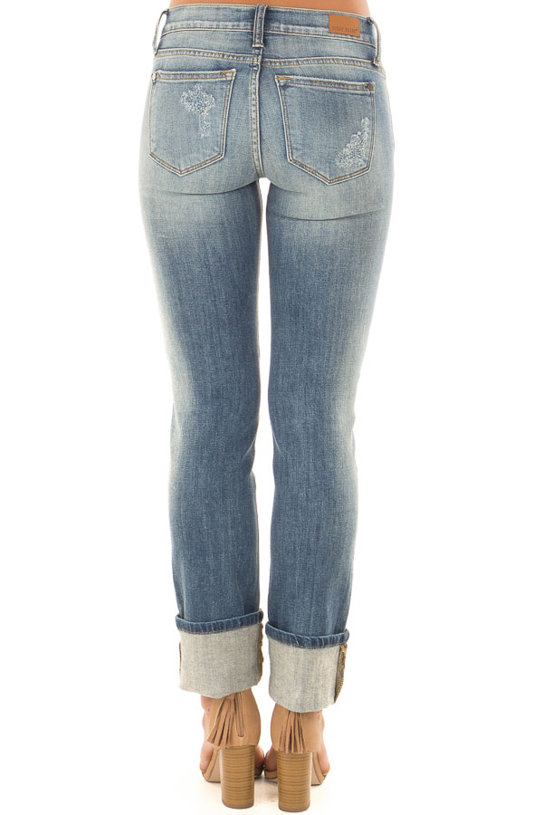 Medium Wash Distressed Straight Leg Jeans with Cuffed Ankle back view