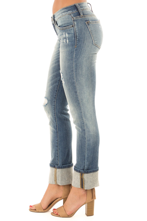 Medium Wash Distressed Straight Leg Jeans with Cuffed Ankle side view